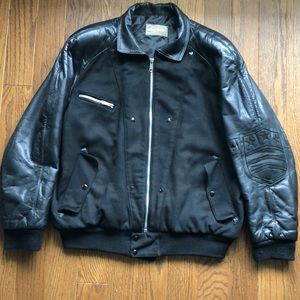 Vintage Claude Montana Leather Sleeved Jacket